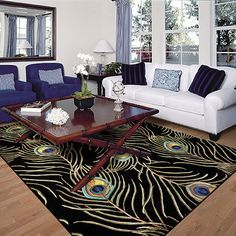 Peacock feather rug -- I love this!