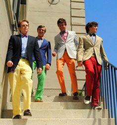 Colored frat boy pants
