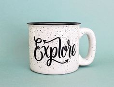 Explore Mug 15 oz Campfire Stoneware by WildandFreeDesigns on Etsy