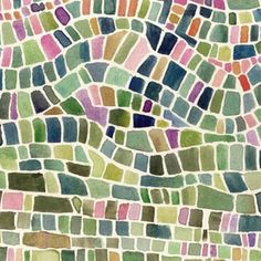 Mosaic print fabric... but what I see is watercolor resist  ;-)  #art #journal