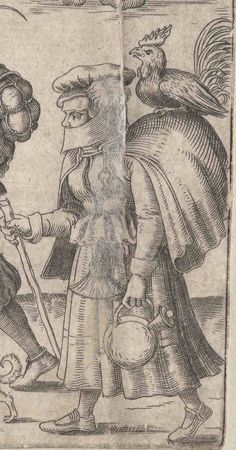 1559 Brun, Franz, active ca. 1559-1596 (engraver) Zug der Soldaten und Marketenderinnen. One of a collection of illustrations of Austrian soldiers. Soldiers and their wives, some walking, some on horseback, moving to the left. DETAIL  Copyright - Anne S.K. Brown Military Collection at Brown University.