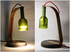 Desk lamp made with a recycled wine bottle for the lampshade, the base is made of black MDF, lamp arm made with walnut wood, an old toggle switche, a LED bulb and red fabric cable. Upcycling at its best! [symple_box…
