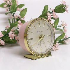 I love vintage alarm clocks with rhinestones!