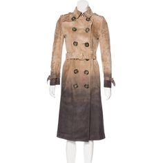 Pre-owned Burberry Prorsum Suede Trench Coat ($2,195) ❤ liked on Polyvore featuring outerwear, coats, neutrals, tan suede coat, tan coat, burberry trenchcoat, tan trench coat and double-breasted trench coat