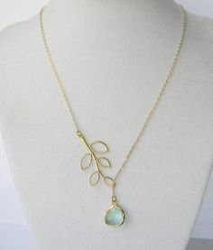 Gold Leaf Branch Lariat Necklace Prasiolite Light by DanaCastle