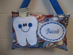 Tooth Fairy Pillow-Boys Tooth Pillow Personalized Tooth by 4Brig
