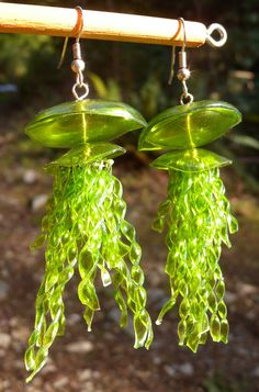 Lime Green Jellyfish Earrings Made From Recycled by FunkyEmporium Recycled Jewelry, Recycled Glass, Creamer Bottles, Plastic Bottle Art, Children's Picture Books, Jellyfish, Green Colors, Wind Chimes, Lime