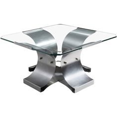 Michel Boyer Steel and Glass 'X-Series' Coffee Table 1