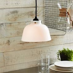 Mini Industrial Glass Pendant - Bowl #westelm  possibility over kitchen island - cords come in different colours
