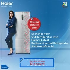 Exchange your old #refrigerator with #Haier's latest Bottom Mounted Refrigerator   Get exciting Buy Back Value Discount : 1. For Above 400 ltrs get off upto Rs. 12,000/-  2. For 300 to 400 ltrs get off upto Rs.8,000/- 3. For FF 250 to 300 ltrs get off upto Rs.5,000/- 4. For any DC get off upto Rs. 3,000/-  #technology  #Innovation #InspiredLiving