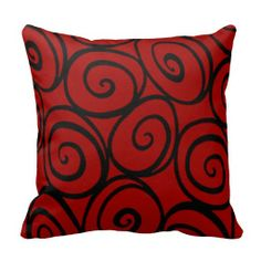 The Queen's Roses Throw Pillow in black and red