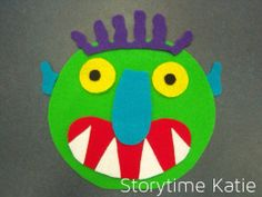 "flannel board for the book ""Go Away Big Green Monster"" by Ed Emberley Flannel Board Stories, Felt Board Stories, Felt Stories, Flannel Boards, Retelling Activities, Monster Activities, Book Activities, Educational Activities, Felt Board Templates"