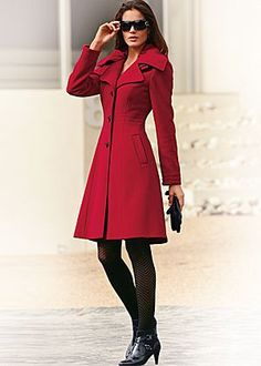 Red (RD) Tailored A-Line Coat $119.00