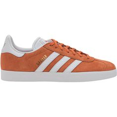 ADIDAS ORIGINALS Gazelle Tactile Orange // Flat suede sneakers ($105) ❤ liked on Polyvore featuring shoes, sneakers, flat footwear, adidas originals shoes, adidas originals, striped shoes and orange flat shoes