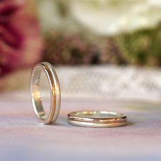 コンビカラー/マリッジリング:La coppia(ラコッピア) ふたつの同じかたちのリングをつなぎ合わせた夫婦二人をイメージしたザイン。  [K18 Gold,Platinum 900 marriage wedding ウエディング 結婚指輪]