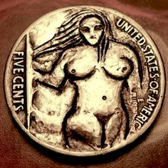 Eric Truitt - Cute Lady 2 Hobo Nickel, Cute Woman, Coins, Carving, Personalized Items, Lady, Rooms, Wood Carvings, Sculptures
