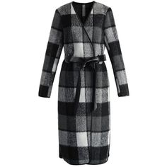 Chicwish Charming Plaid Longline Wool-blend Coat in Black ($82) ❤ liked on Polyvore featuring outerwear, coats, multi, plaid wrap coat, black trench coat, wool blend wrap coat, tartan coat and leather wrap belt