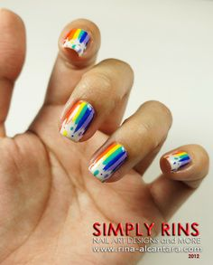 Dripping Rainbow Nail Art Design