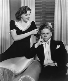 """Judy Garland and Mickey Rooney in a publicity shot for """"Andy Hardy Meets Debutante"""" (1940)"""
