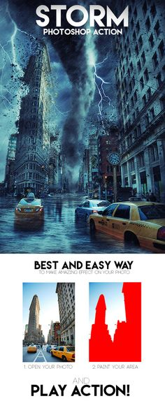 Storm Action adds on your photo amazing and realistic Storm effect. Action perfect works with landscape photos. Action contains 10 color FX. Save hours of work with this action. After action finish...