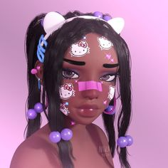 Black Cartoon Characters, Black Girl Cartoon, Black Girl Art, Black Women Art, Cartoon Art, Art Girl, 3d Foto, Emo Anime Girl, Virtual Girl