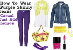 """How To Wear Purple Skinny Jeans - Casual - Just Add Lemon"" by bbeingcool-1 on Polyvore"