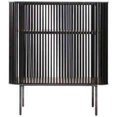 Dry Bar in Oiled Laser Cut Steel Frame with Black Oak Slats and Leather Top | 1stdibs.com