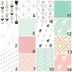 Deer Girls Pink and Mint Baby Bedding