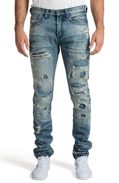 PRPS Le Sabre very destroyed stitched and ripped denim jeans. Repair Jeans, Jeans Pants, Shorts, Ripped Denim, Men's Denim, Leather Jeans, Skinny Jeans, Destroyed Jeans, Men Looks