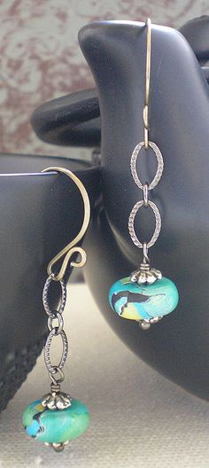 Caribbean Blue Earrings by iamcr8ve, via Flickr