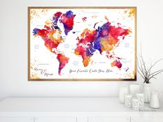 """Custom quote - colorful watercolor printable world map with countries and states labelled. """"Noor""""  #print #corkboard #customized #map #home #tra #colorful #orange #printable #family"""