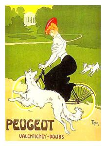 Peugeot Bicycles VALENTIGNEY-DOUBS Vintage Cycling Reprint Poster - Art Nouveau, Circa 1900 ~Available at www.sportsposterwarehouse.com