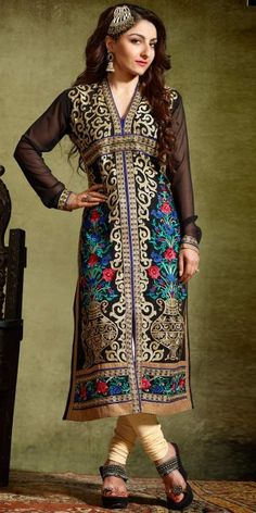 Soha Ali Khan Georgette Straight Salwar Kameez in Black Color.