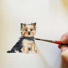 Lemontree Calligraphy: Watercolor Yorkshire Terrier Dog