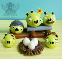 edible angry birds fondant toppers by ArtisanCakeCompany, via Flickr