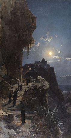 Night on Mount Athos - Hermann Corrodi, 1880