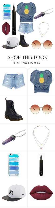 """Clube"" by lilicabsilveira-1 on Polyvore featuring rag & bone/JEAN, Dr. Martens, Topshop, Michael Kors, Kate Spade, New Era and Lime Crime"