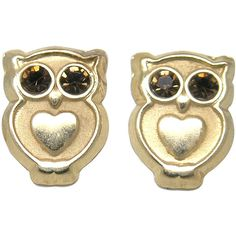 De Buman 14K Yellow Gold Dark Brown Crystal Owl Screw back Earrings... ($72) ❤ liked on Polyvore featuring jewelry, earrings, yellow, owl earrings, gold earrings, 14 karat gold earrings, yellow stud earrings and long gold earrings