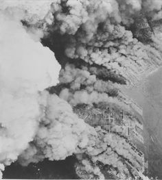 Osaka, Japan burning during an American raid, 1 Jun 1945  Source   United States National Archive