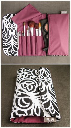 Makeup Travel Bag - Black and White Scroll - This all-in-one makeup pouch & brush roll is the perfect way to keep makeup & brushes organized – - Bag Sewing Pattern, Bag Patterns To Sew, Makeup Bag Pattern, Tattoo Machine Kits, Crochet Case, Knitting Needle Case, Travel Jewelry Organizer, Makeup Pouch, Sewing Makeup Bag