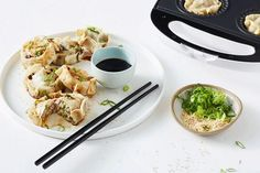 Making your own dumplings just got easier with this pie maker recipe featuring a garlic, ginger pork filling and soy and sesame dipping sauce. Dumpling Recipe, Dumplings, Easy Dinners For Kids, Just Pies, Cheesecake Swirl Brownies, Ginger Pork, Banana Bread Muffins, Wonton Wrappers, Sausage Rolls