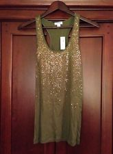 Old Navy Sequin Shimmer Racerback Tank Top Olive Military Green Gold Copper New Green Tank Top, Navy And Green, Racerback Tank Top, Military Green, Metallic Gold, Old Navy, Copper, Sequins, Tank Tops