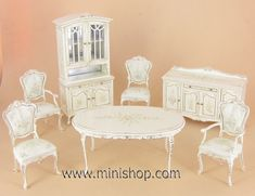 Wildflower Dining Room Set by Bespaq, Dollhouse Miniature Furniture