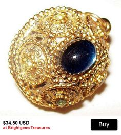 "Disco Ball Pendant Chain Necklace Blue Green Rhinestones Gold Metal Filigree 18"" Vintage"
