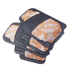 Adeco 4Piece Car Vehicle Universal Floor Mats Black AllWeather Rubber with Leopard Print Dacron Surface ** See this great product.Note:It is affiliate link to Amazon.