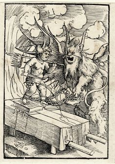 A drunken child chained by the devil; the child with horns, standing on an open book while urinating on a table. Holding a short sword in his right hand and a stick from which a crown is dangling over his left shoulder. The devilish creature holding the chains on the right, flames in the background. Illustration to Johann von Schwartzenberg, 'Ain buchle wider das zutrincken', published as part of 'Der Teütsch Cicero', Augsburg: H. Steiner, 1535. Woodcut.