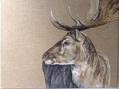 "A Jolly Good Fallow (mini study) Stag painting. Oil on linen (16""x20"") Tony O'Connor whitetreestudio.ie"