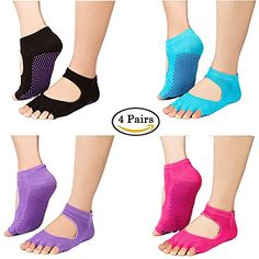 Greentree Non Slip Skid Yoga Pilates Barre 5 Toeless Socks Grips Women 4 Pack >>> You can find more details by visiting the image link.(This is an Amazon affiliate link)