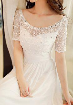White Beaded Maxi Dress - Soft Chiffon Fabric Dress