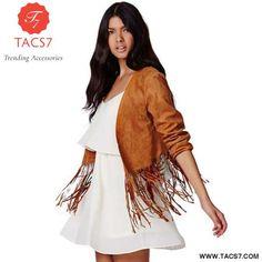 Fashion Tassel Basic Coat With 3 4 Sleeve Borwn   L Casual Coats For Women c9b95594e